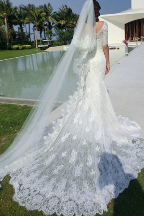 White Lace Half Sleeves Chapel Train Mermaid Wedding Dresses Bridal Dress Wedding Gowns LD587