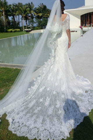 White Lace Chapel Train Mermaid Wedding Dresses Bridal Dress Gowns ...