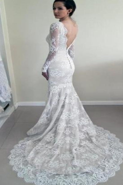 Long Sleeves Lace Back V Mermaid Wedding Dresses Bridal Dress Wedding Gowns LD589