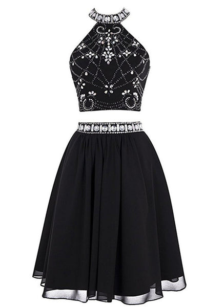 Two Piece Black Crystal Beaded Back O Homecoming Dress Prom Cute Dress Party Gowns LD590