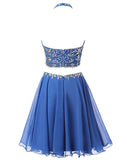Royal Blue Open Back Halter 2 Pieces Homecoming Dresses Prom Cute Dress Party Gowns LD591