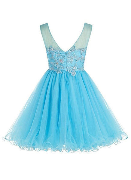 Real Picture Blue Lace Tulle Back V Mini Homecoming Dresses Prom Cute Dress Party Gowns LD592