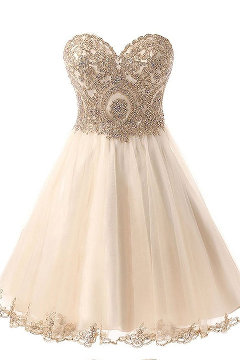 Empire Waist Sweetheart Homecoming Dresses Short Appliques Prom Dress Cute Dress LD593