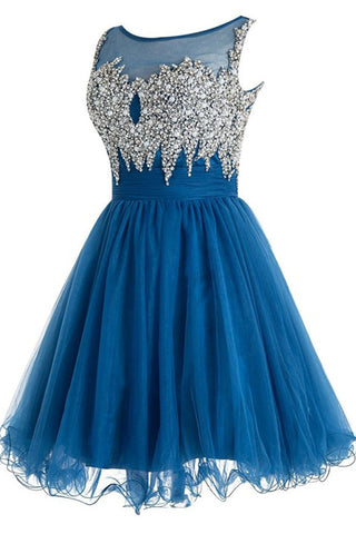 Hot Sales Beads Pearls Blue Mini Homecoming Dresses Prom Dress Cute Party Dress LD596