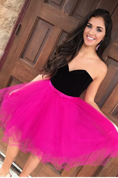 Simple Hot Pink Tulle Cheap Homecoming Dresses Prom Dress Cute Party Dress LD598