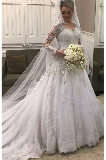 Luxury Long Sleeves White Lace High Quality Wedding Dresses Bridal Dress  Wedding Gowns LD600