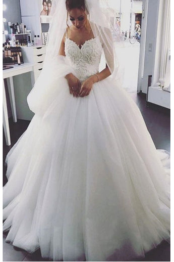Princess Spaghetti Straples Lace Ball Gown Wedding Dresses Bridal Dress Wedding Gowns LD601