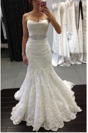 High Quality Lace Mermaid Wedding Dresses Bridal Dress Wedding Gowns With Beaded Belt LD602