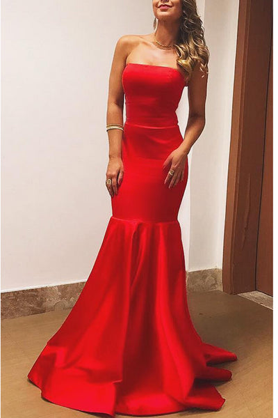 New Arrival Strapless Mermaid Elegant Cheap Red Prom Dresses Evening Dress Prom Gowns LD603