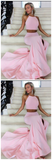New Arrival Halter Slit Pink Mermaid 2 Pieces Elegant Prom Dress Evening Dresses Prom Gowns LD604