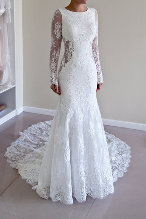 Long Sleeves Mermaid White Lace Open Back Wedding Dresses Bridal Dress Wedding Gowns LD606