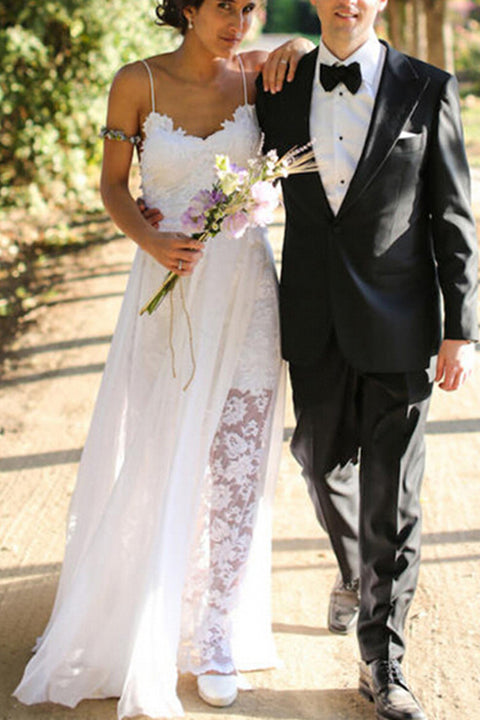 Hot Sales Spaghetti Straps Lace Backless Slit Wedding Dresses Bridal Dress Wedding Gowns LD607