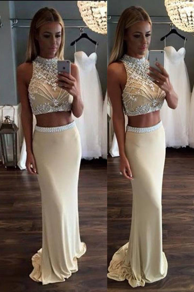 Fashion 2 Pieces High Neck Mermaid Prom Dresses Evening Dress Prom Gowns LD608