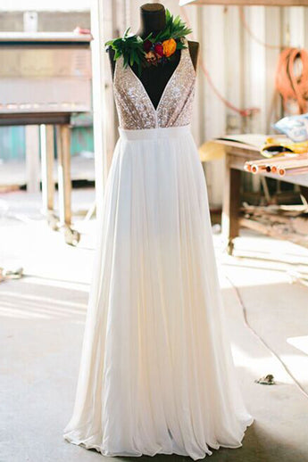 Rose Sequin V Neck Off the Shoulder Backless Long Bridesmaid Dresses Evening Prom Dress LD609