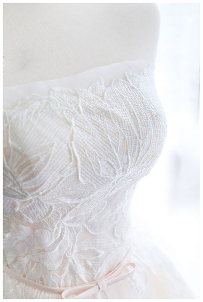 A Line Strapless Princess Lace Tulle Cheap Wedding Dress Bridal Dresses Wedding Gowns LD610