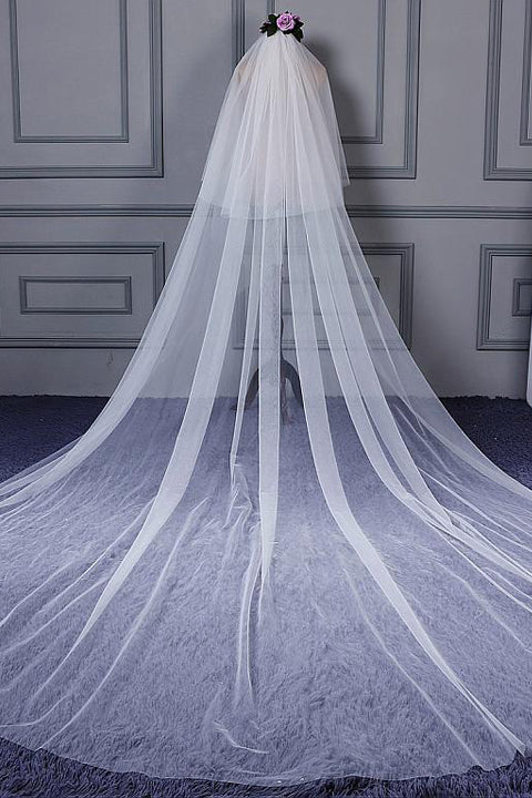 Hot Sales White Soft 2.7 Meters (106 inches) Cheap Long Wedding Veils Cathedral Bridal Veil LD618