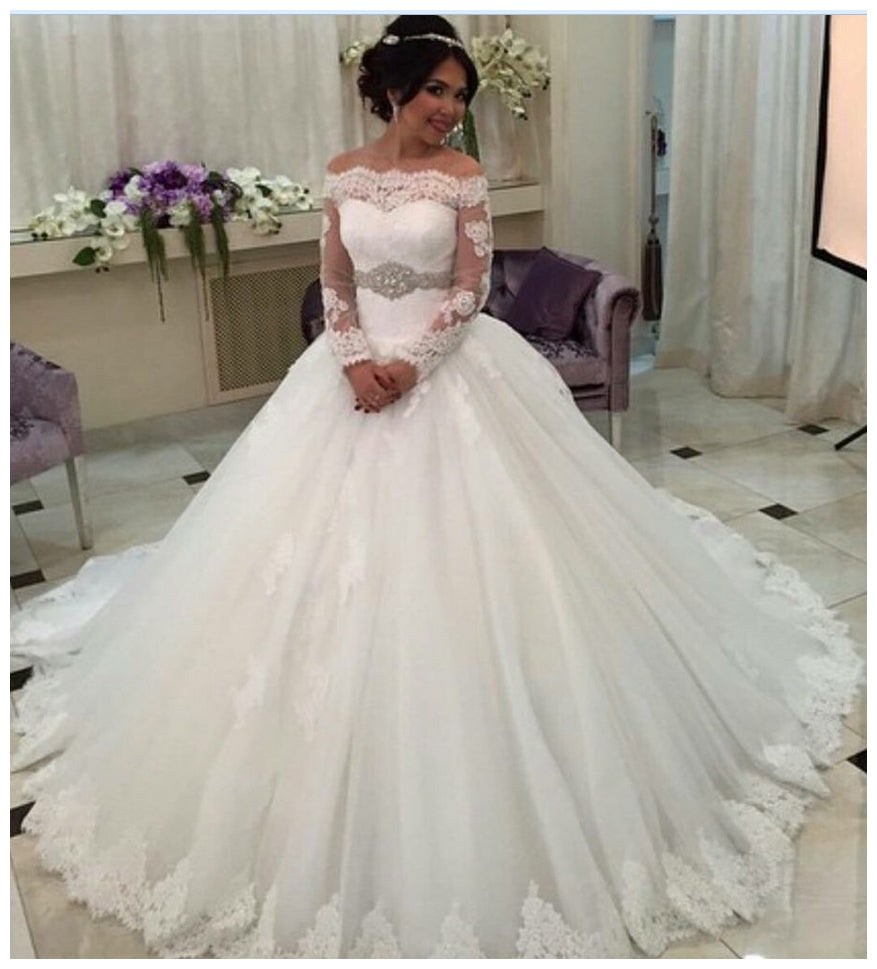 Long Sleeves Ball Gown Wedding Dress Bridal Dresses With
