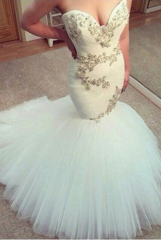 Sweetheart Beaded Mermaid Wedding Dresses Bridal Dress Wedding Gowns ...