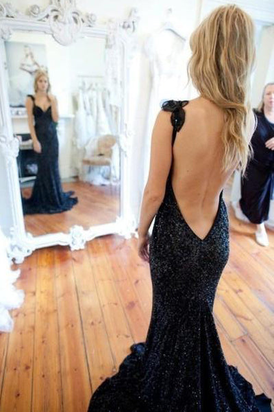 Open Back Navy Blue Sequin Mermaid Prom Dress Evening Party Dresses Prom Gowns LD627