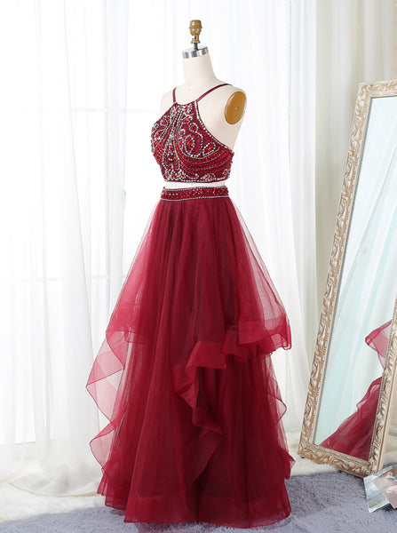 Burgundy Spaghetti Straps Backless 2 Pieces Prom Dresses Evening Dress Party Gowns LD629