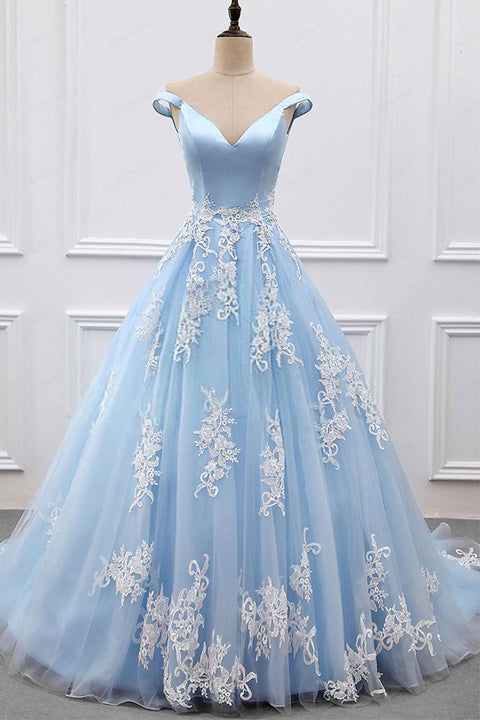 Fashion Light Blue Appliques High Quality Long Prom Dresses Evening Dress Party Gowns LD630