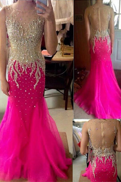 Heavy Beads Hot Pink Mermaid See Through Prom Dress Evening Dresses Party Gowns LD633
