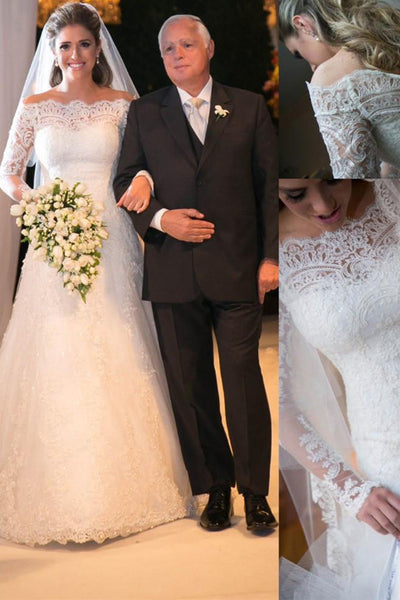 Ivory Lace Long Sleeves Off the Shoulder Sheath Wedding Dresses Bridal Dress Gowns LD635