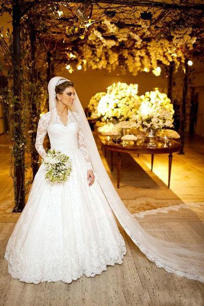 V Neck Ivory Lace Long Sleeves Ball Gown High Quality Wedding Dresses Bridal Dress LD636