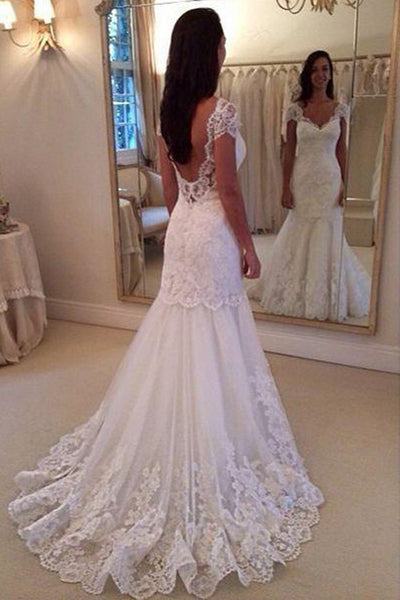 Cap Sleeves Open Back Lace Sheath Wedding Dress Bridal Dresses Wedding Gowns LD639