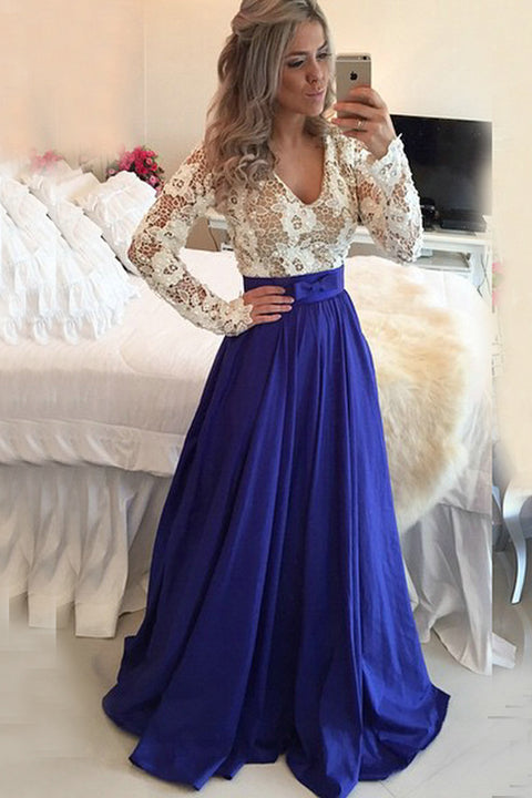 Long Sleeves Royal Blue V Neck High Quality Prom Dress Evening Dresses Party Gowns LD642