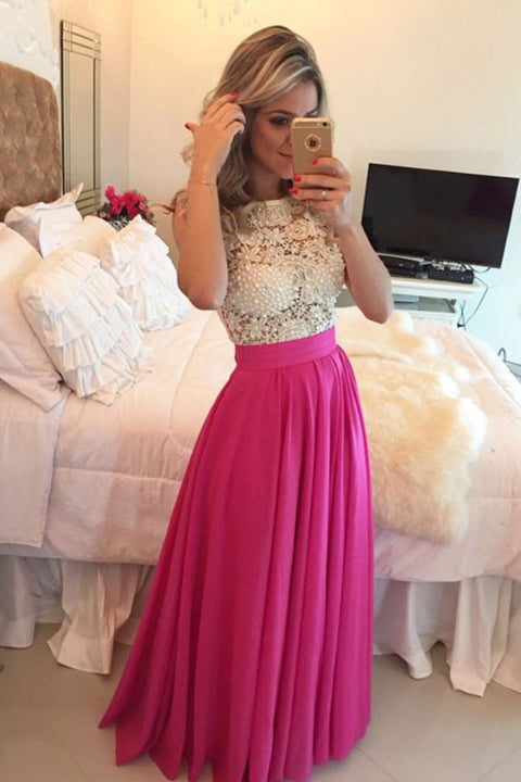 Ivory Lace Hot Pink Skirt See Through Long Prom Dresses Evening Dress Party Gowns LD643
