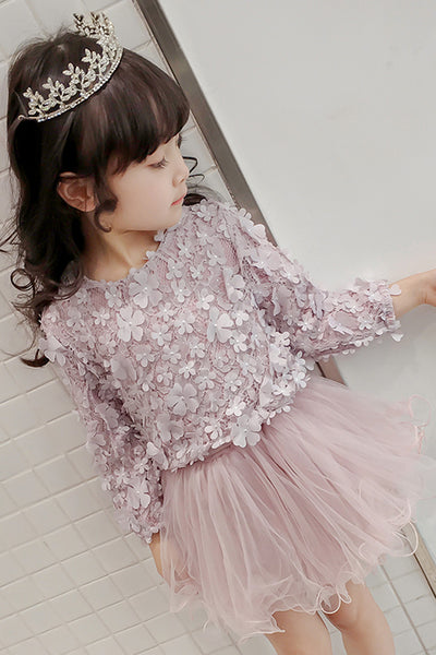 Fashion Long Sleeves Lace Tulle Short Flower Girl Dress Cheap Kids Dresses LD645