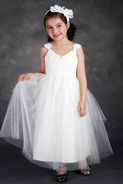 Open Back Ivory Lace Tulle Ball Gown Flower Girl Dress With Bow Kids Dresses LD646