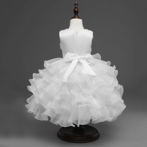 Ball Gown Sleeveless Ivory Tiered Skirt High Low Flower Girl Dress With Beads Bow Belt Kids Dress LD647
