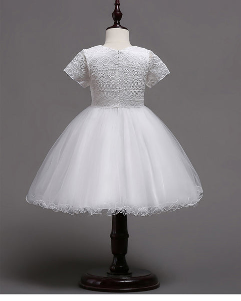Princess Short Sleeves White Lace Tulle Cheap Long Flower Girl Dress Kids Dresses LD648