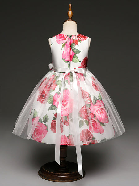 New Arrival Red Flowers Printed Long Flower Girl Dresses Kids Dress Cute Dress With Bow LD649