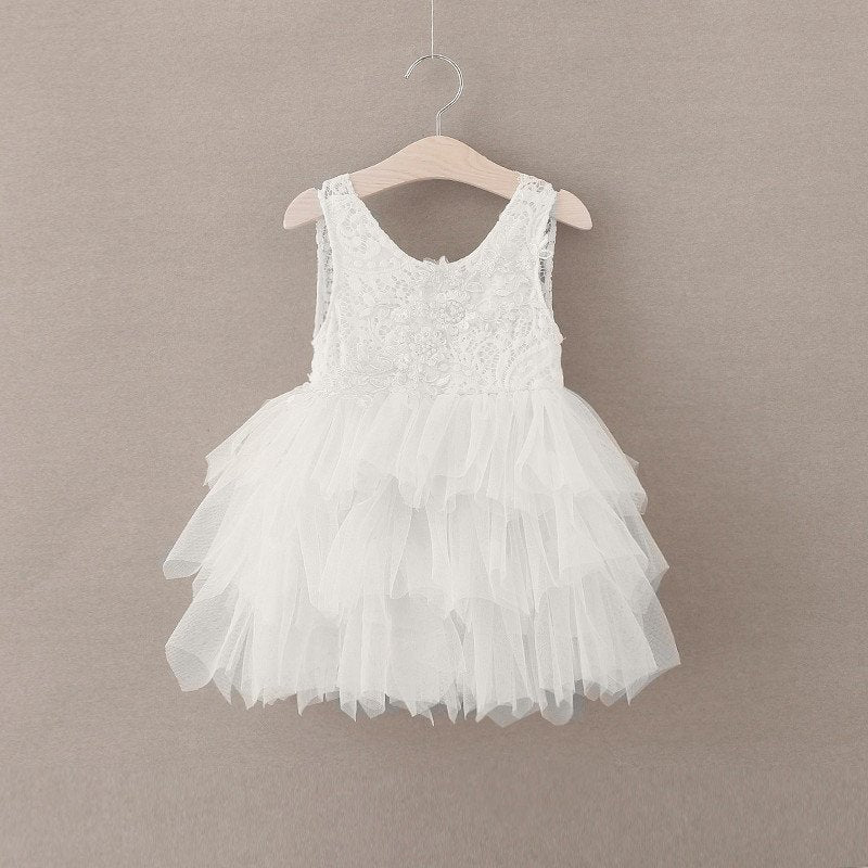 Open Back Ivory Lace Tiered Tulle Skirt Short Flower Girl Dresses Kids Dress Cute Dress LD651