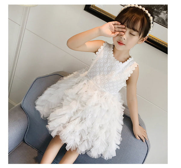 A Line Princess Ivory Lace Tulle Short Flower Girl Dress Kids Dress Cute Dresses LD652
