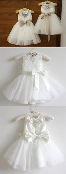 Hot Sales Ivory Lace Tulle Bows Long Flower Girl Dresses Kids Dress Cute Dress LD653