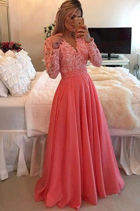 Long Sleeves V Neck Lace Coral Fashion Prom Dress Evening Gowns Party Dresses LD654