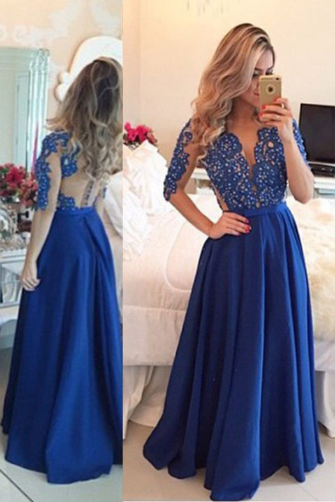 Half Sleeves V Neck See Through Back Royal Blue Prom Dresses Evening Gown Party Dress LD655