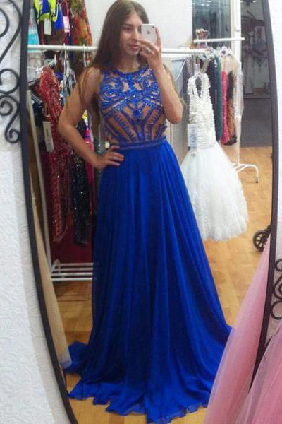 Fashion Royal Blue Chiffon Heavy Beads Long Prom Dress Evening Gowns Party Dresses LD656