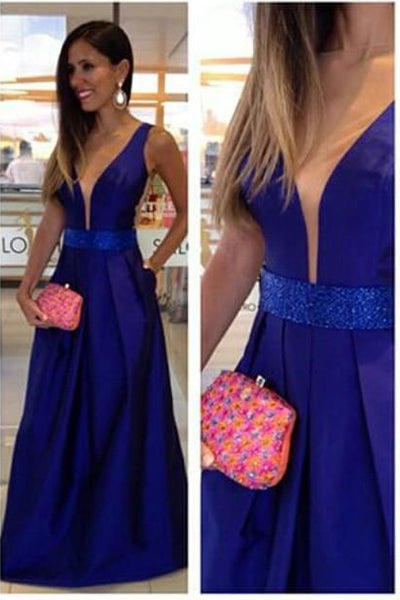 Deep V Neck Off the Shoulder Royal Blue Backless Prom Dress Evening Gown Party Dresses LD657