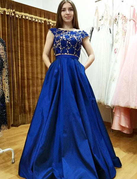 Royal Blue Cap Sleeves 2 Pieces Lace Prom Dresses Evening Gown Party Dress With Pocket LD659