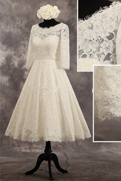 3/4 Long Sleeves High Quality Lace Tea Length Wedding Dress Bridal Dresses Wedding Gowns LD660