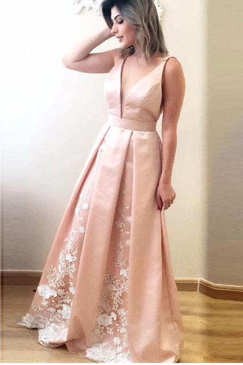 Off the Shoulder V Neck Skin Pink Prom Dress Evening Gown Graduation Dresses LD664