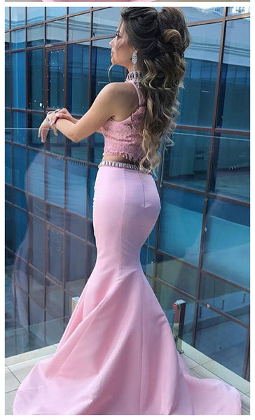 Fashion 2 Pieces High Neck Pink Satin Lace Mermaid Prom Dresses Evening Gown Party Dress LD666