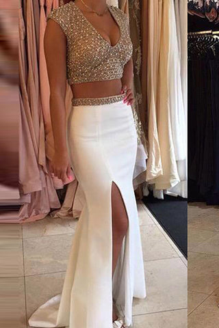 Cap Sleeves Two Pieces Slit Ivory Satin Mermaid Prom Dresses Evening Gown Party Dress LD667