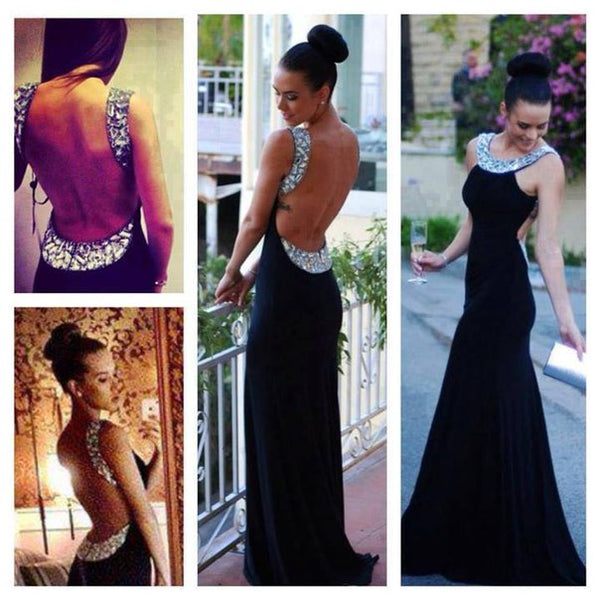Sexy Open Back Black Mermaid Crystals Long Prom Dress Evening Gowns Party Dresses LD670