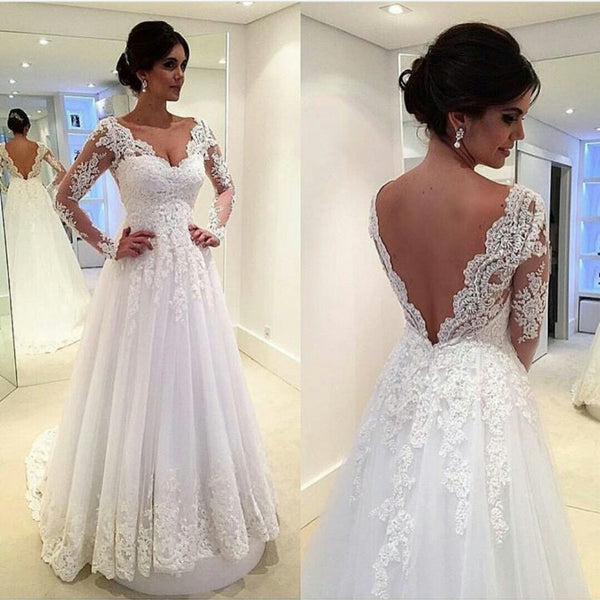 Long Sleeves White Lace Appliques V Neck High Quality Wedding Dress Bridal Dress Wedding Gown LD671